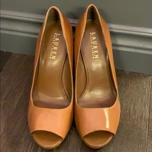 Ralph Lauren peep toe leather heels